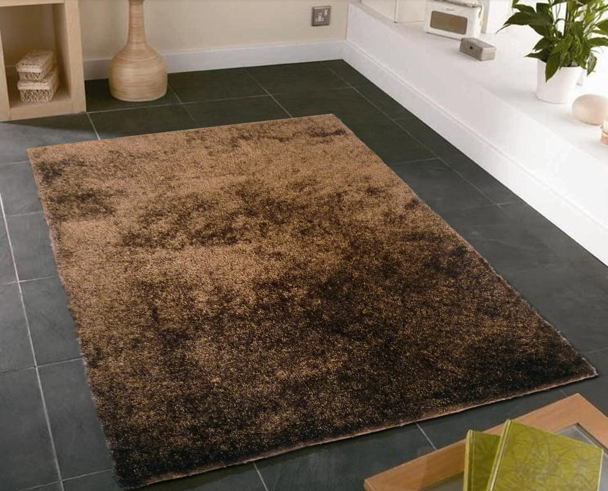 handmade brown solid soft u0026 fuzzy shag area rug 5u0027 x 7u0027 ft - Shag Area Rug