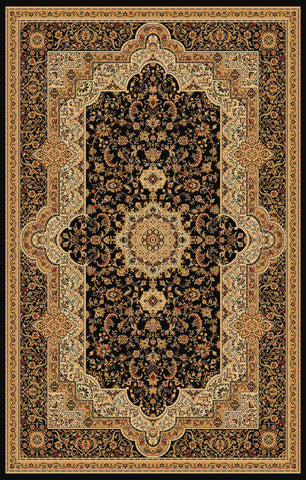 2-Piece Set | Black Brown Persian Empire Traditional Rugs with Rug Pad