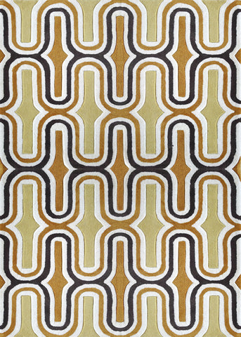 3-Piece Set | LINEAR DESIGN ORANGE GOLD AREA RUG
