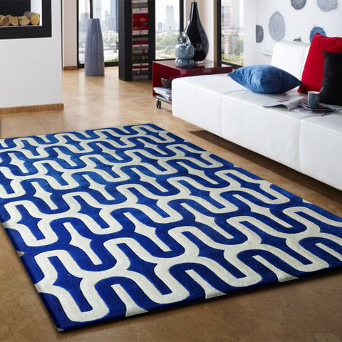 3 Piece Set | LINEAR DESIGN VIBRANT BLUE WITH WHITE AREA RUG