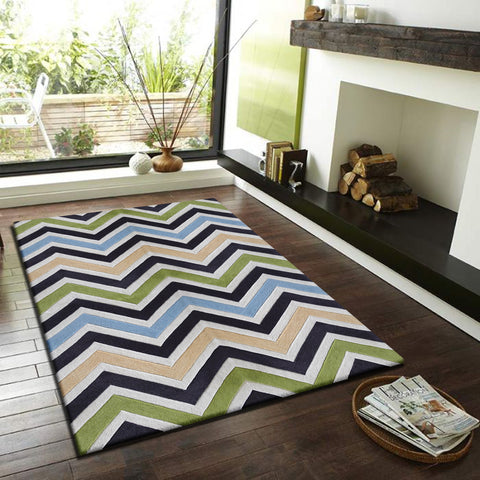 3-Piece Set | LINEAR DESIGN MULTI COLOR GREEN BLUE RUG
