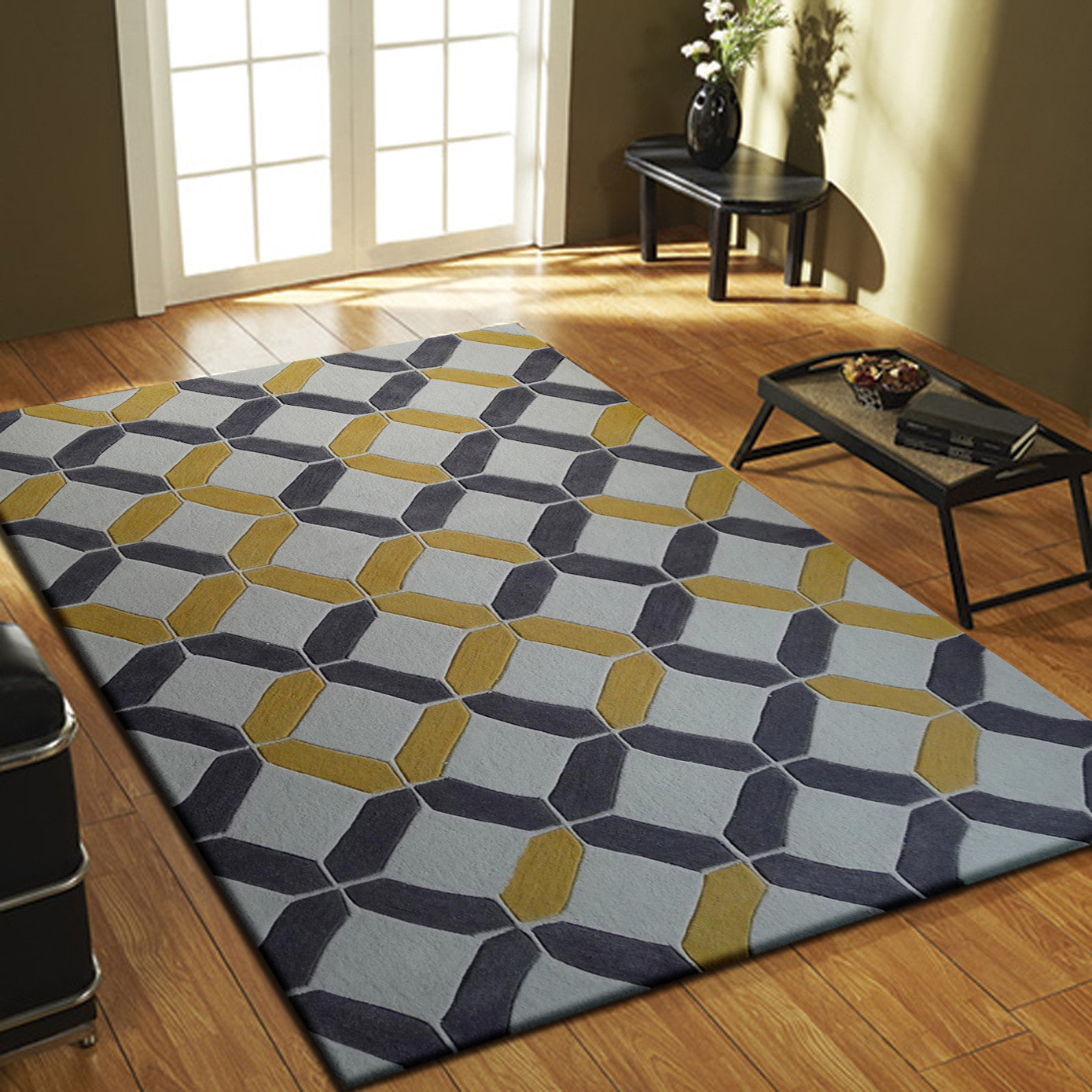 Charcoal With Yellow Contemporary Indoor Area Rug 5u0027 X 7u0027 Ft.