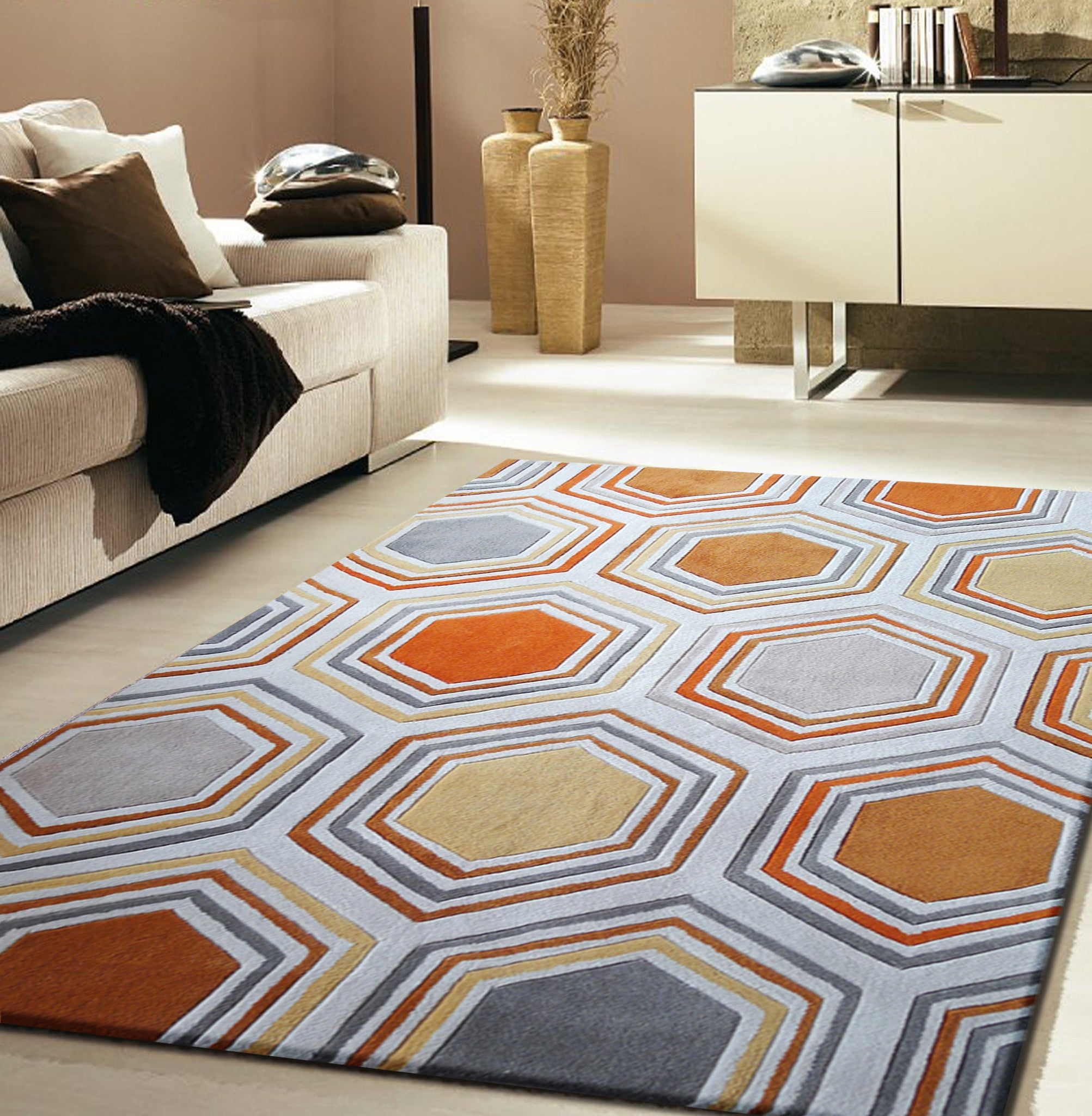 3 Piece Set Elegant Design Orange Grey Area Rug Rug Addiction