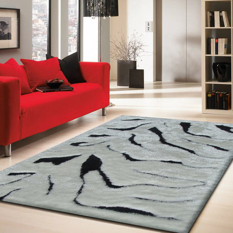 3-Piece Set | SHAG WHITE BLACK ZEBRA DESIGN HANDMADE RUG