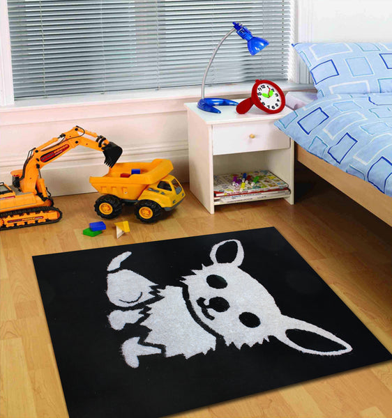 4' X 6' Ft. All Black Kids Bedroom Area Rug With White Dog