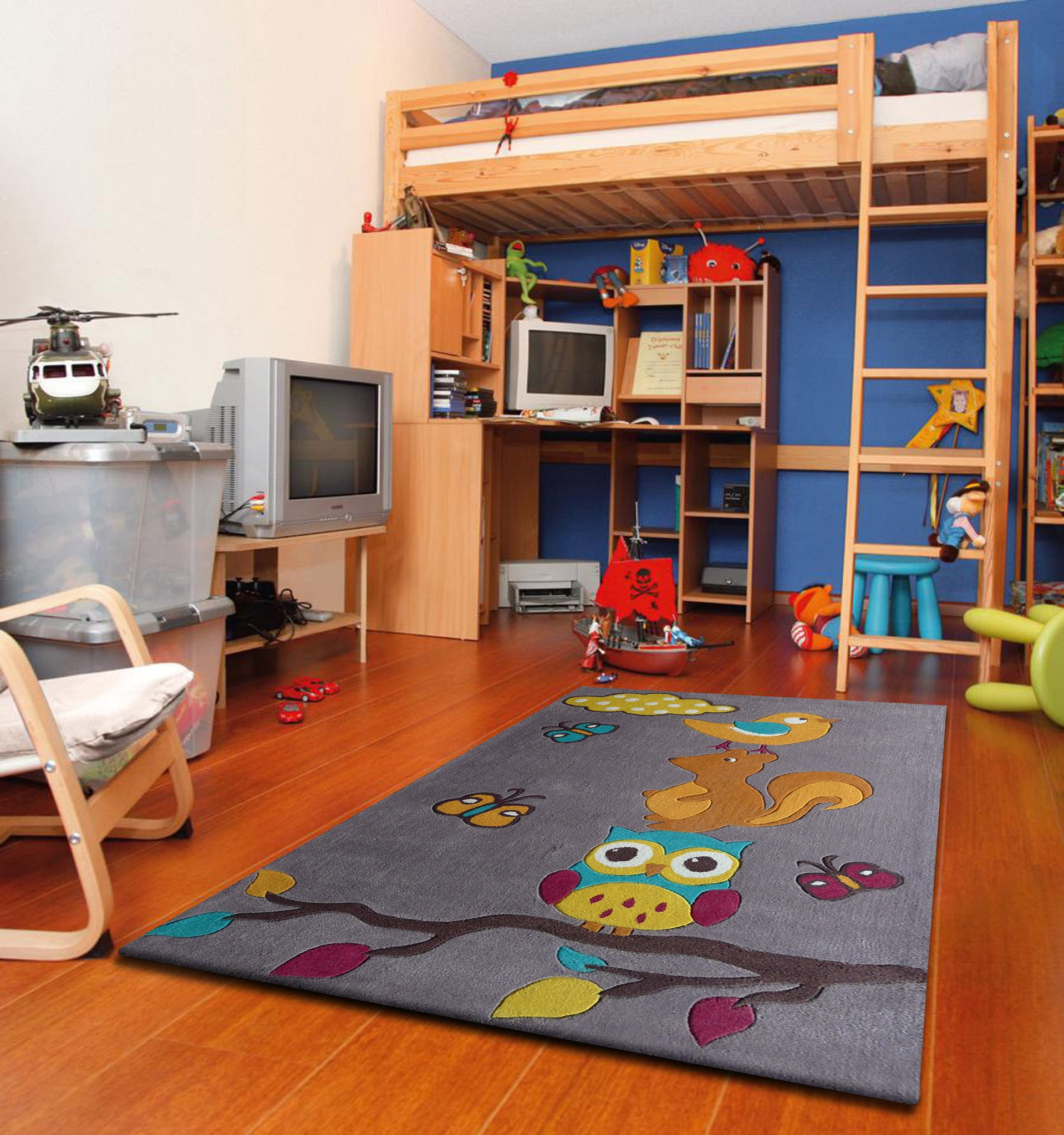 Navy Blue Kids Bedroom Area Rug With Animal Friends ...