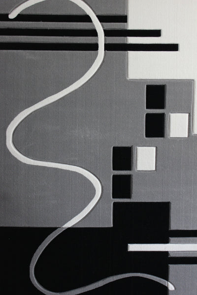 Hand Carved Geometric Grey Area Rug With White Rug Addiction