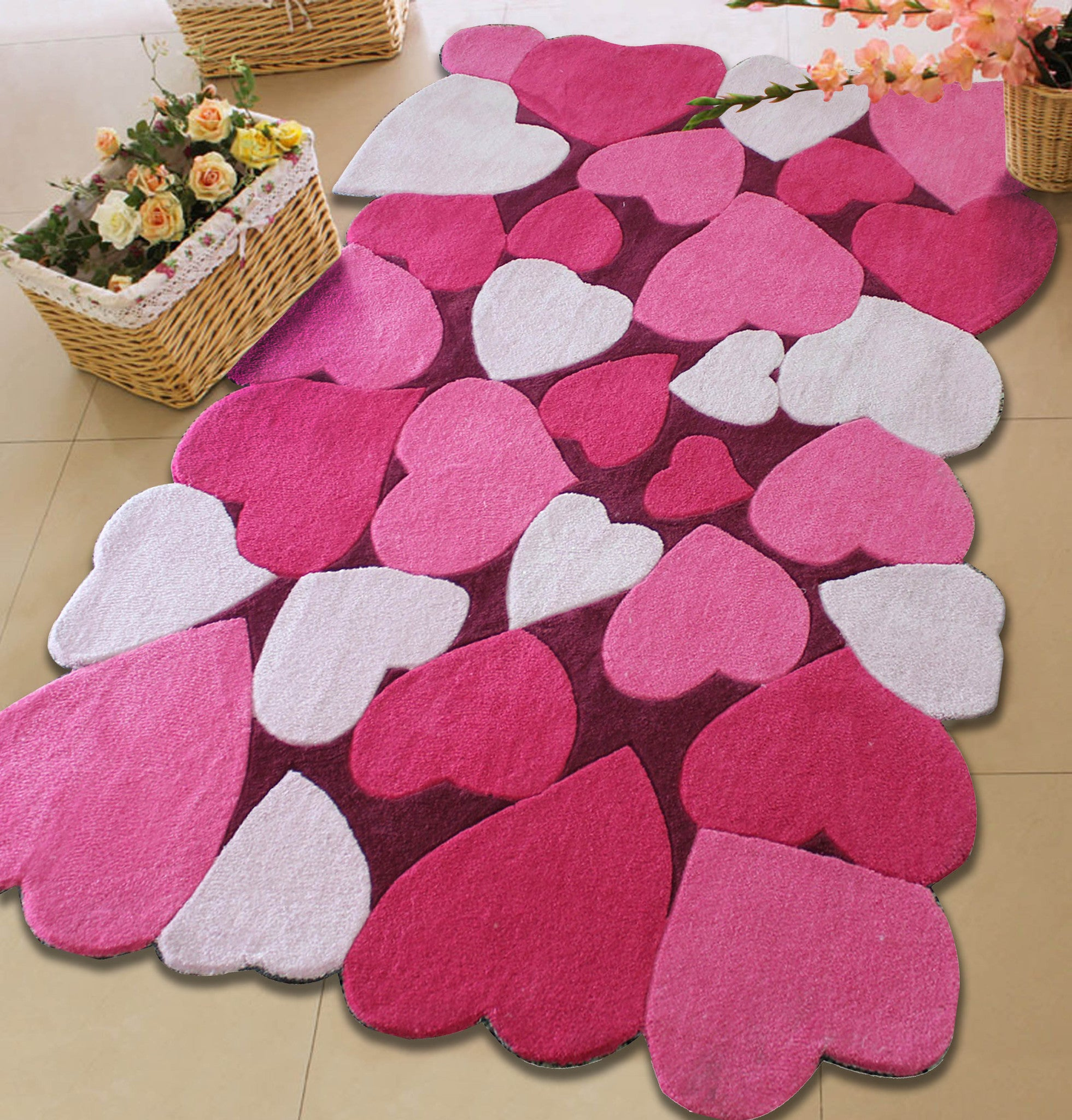 X Ft Kids All Pink Bedroom Area Rug With Hearts Patterns