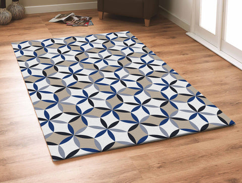 3-Piece Set | Contemporary Grey with Beige and Blue Outdoor Area Rug