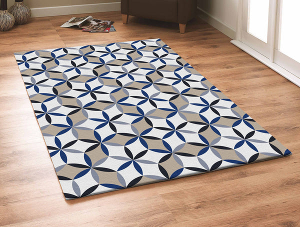 Contemporary Grey With Beige And Blue Outdoor Area Rug