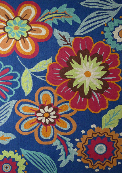 Outdoor Transitional Vibrant Floral Blue Area Rug Addiction