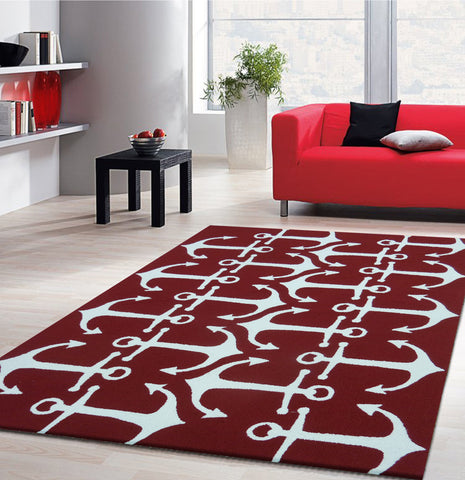 3-Piece Set | Outdoor Contemporary Vibrant Red Area Rug with Anker Designs
