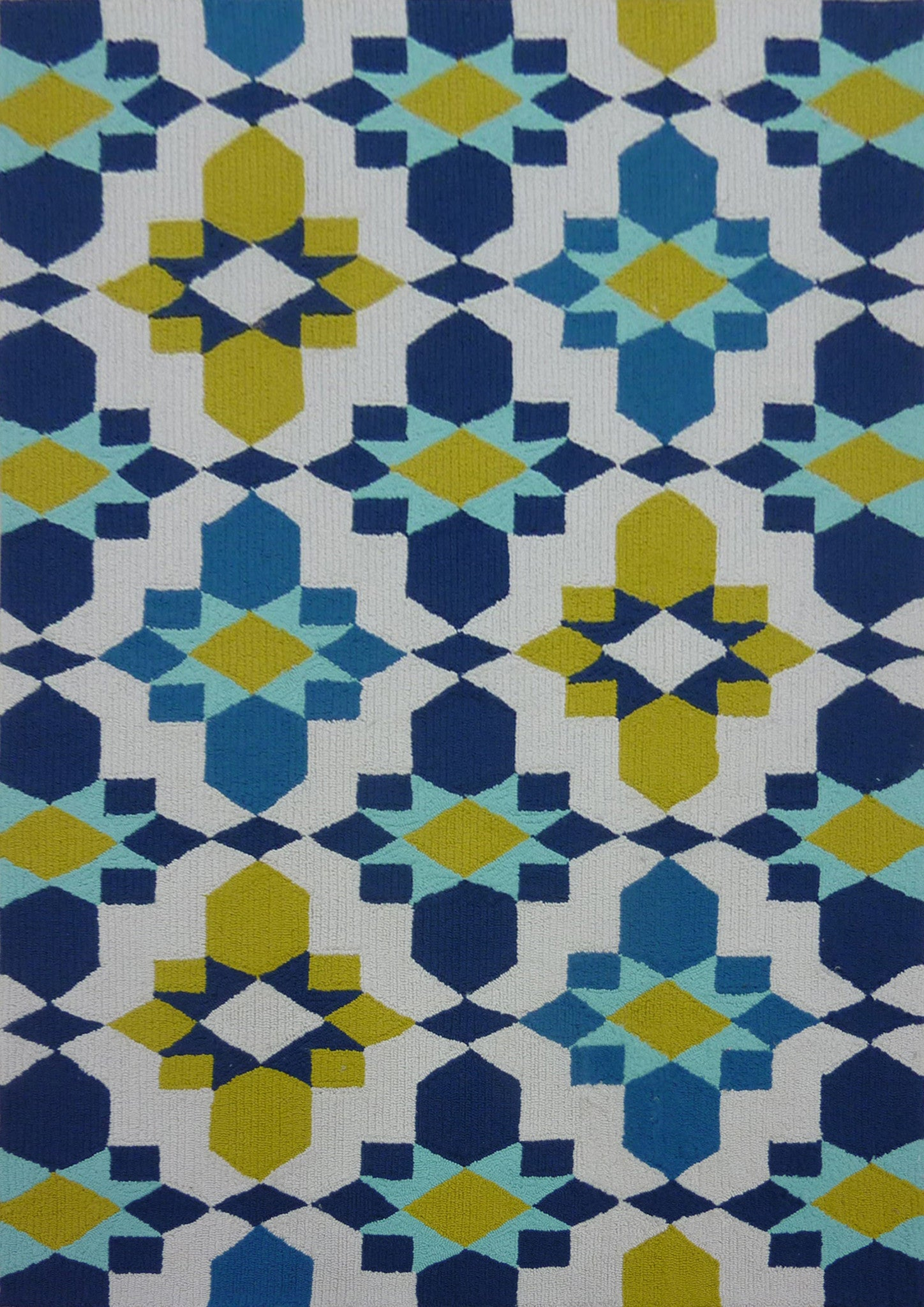 Contemporary Vibrant Blue with Yellow Area Rug Rug Addiction