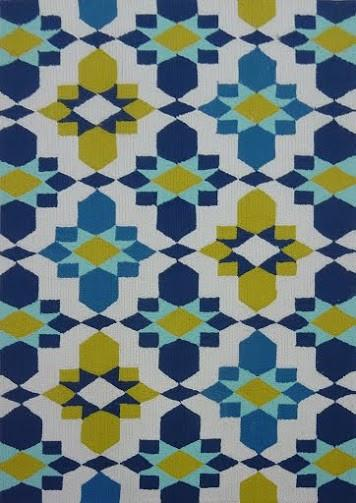 Out4 Blue Yellow Hand Tufted Outdoor Rug Uv Protected Water