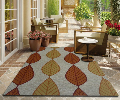 Rust Orange Transitional Floral Outdoor Area Rug