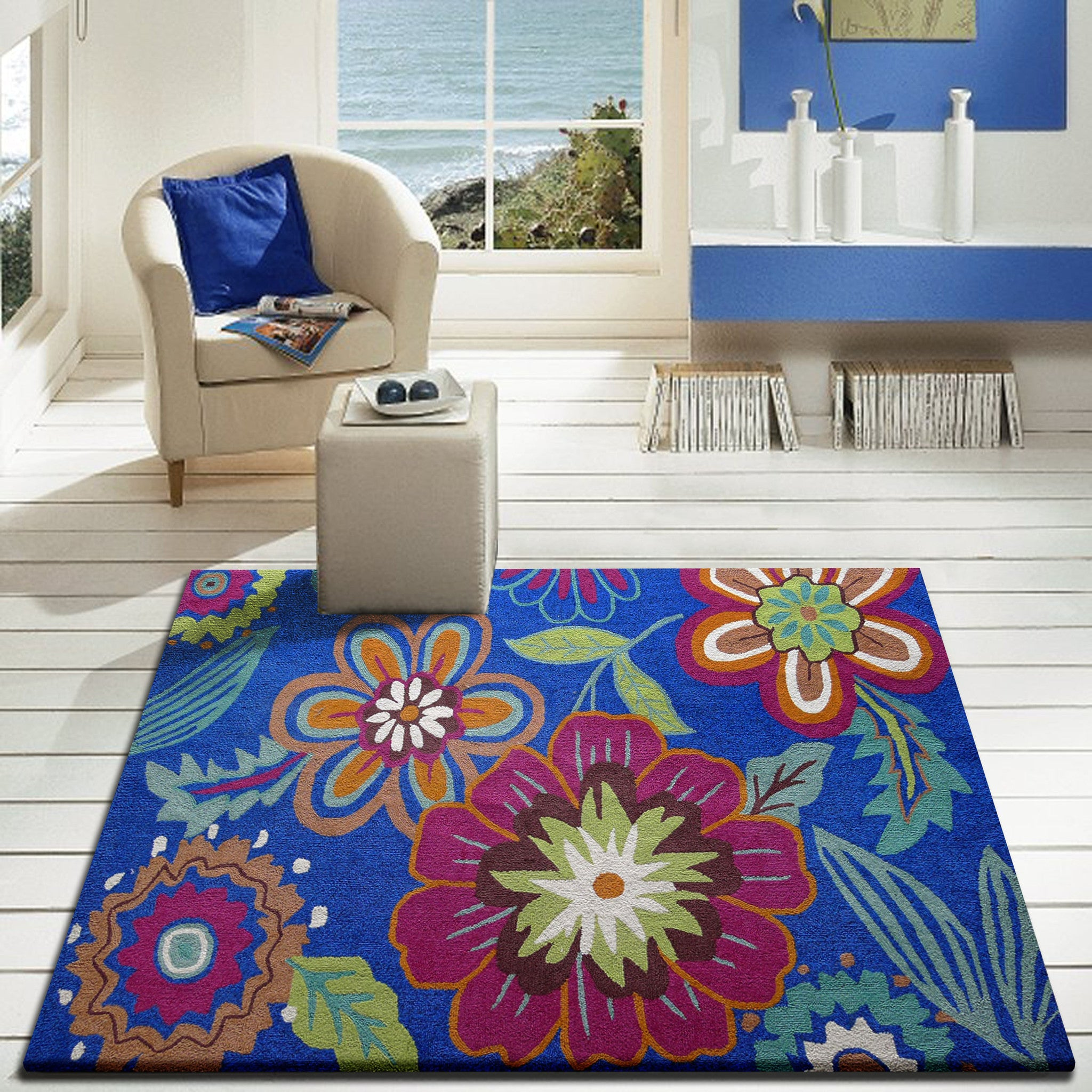 Outdoor Transitional Vibrant Floral Blue Area Rug Rug Addiction
