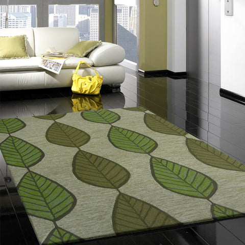 Olive Green Modern Floral Outdoor Transitional Area Rug