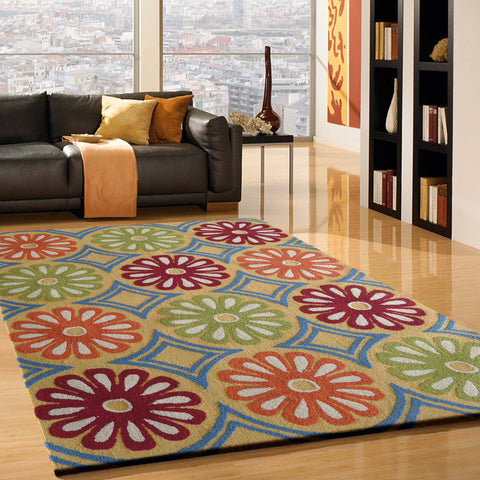Green Floral Outdoor Transitional Area Rug