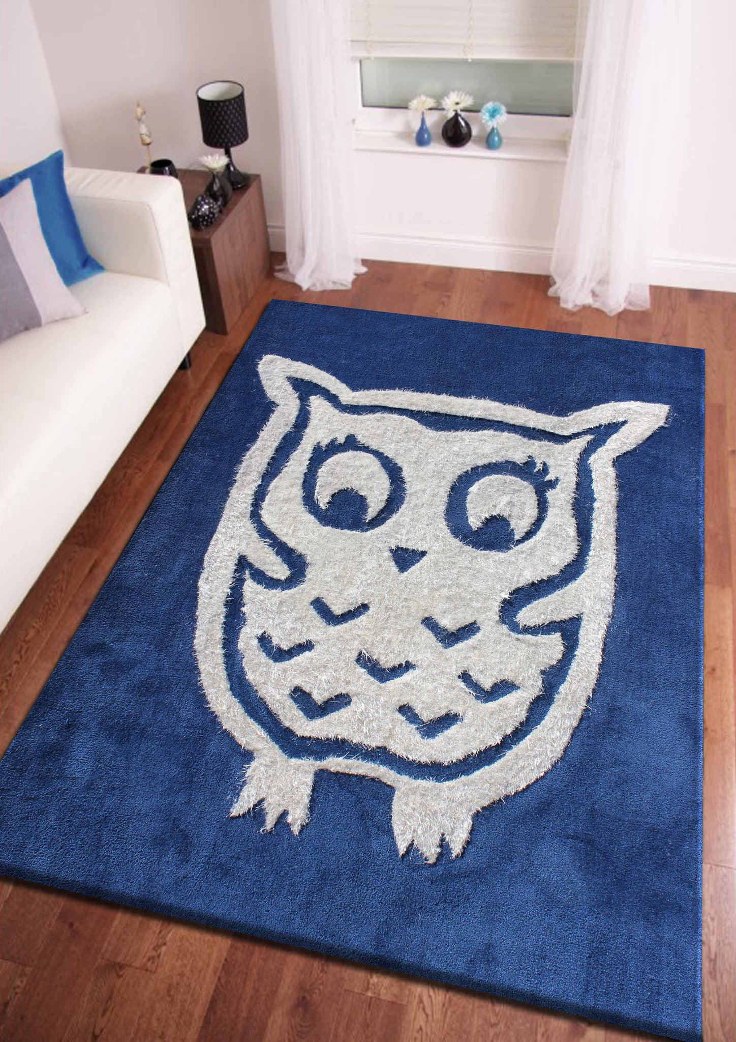 4 39 x 6 39 ft blue kids bedroom area rug with owl design for Rugs for kids bedrooms