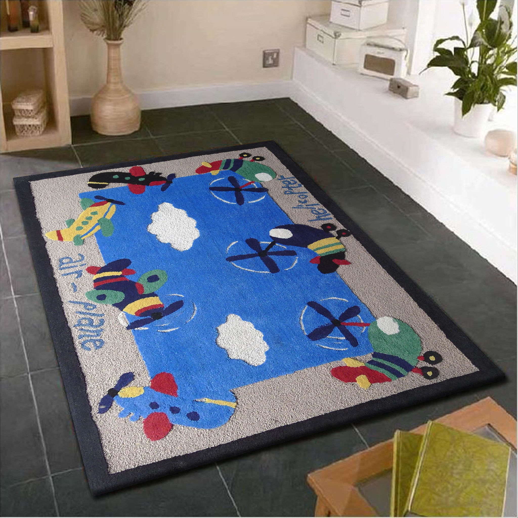 2-PC Set |4\' x 6\'ft. Beige Blue Kids Rug with Yoga Ball - Rug ...