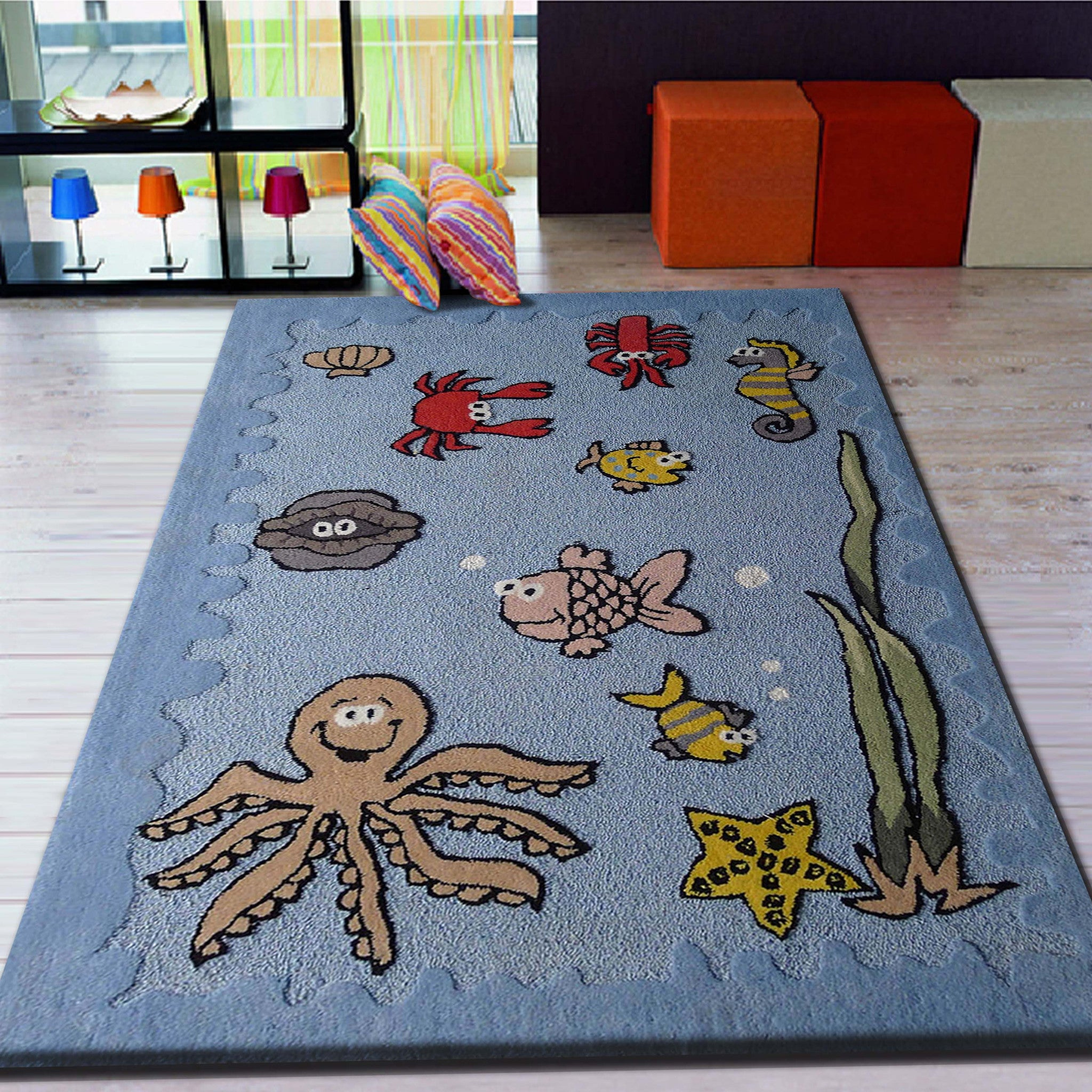 4 X 6 Ft Boy S Aquarium Blue Bedroom Kids Area Rug With