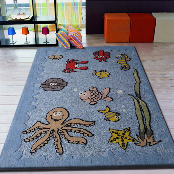 4' X 6' Ft. Boy's Aquarium Blue Bedroom Kids Area Rug With