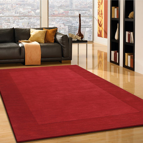 2-Piece Set | Plain Solid Red Rug with Rug Pad