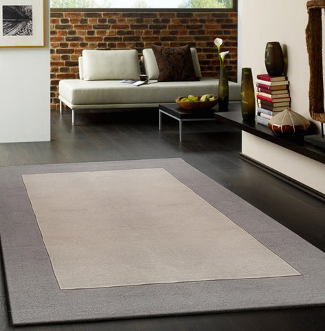2-Piece Set | Plain Solid Light Beige Rug with Rug Pad