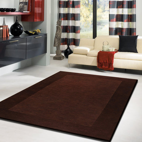 2-Piece Set | Plain Solid Brown Rug with Rug Pad