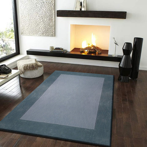 2-Piece Set | Plain Solid Grey Rug with Rug Pad