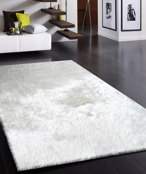White Long Soft Durable Shag Area Rug Rug Addiction
