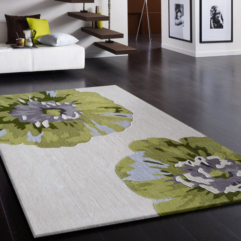 3-Piece Set | Beige with Floral Green Design Hand-tufted Transitional Area Rug