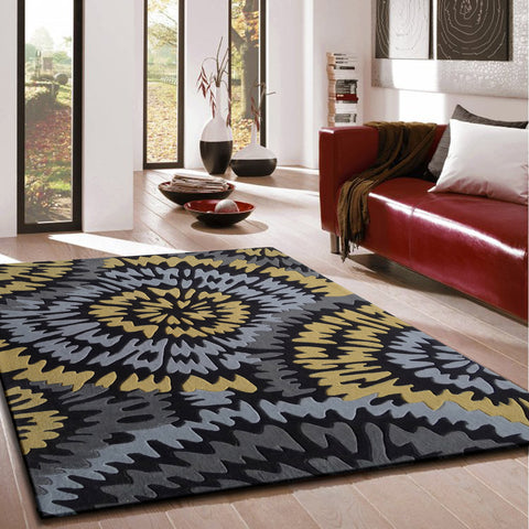 3-Piece Set | Artistic Grey with Yellow Transitional Geometric Indoor Area Rug