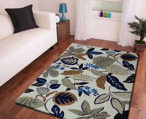 3-Piece Set | Floral Transitional Beige with Leaves Designs Indoor Area Rug