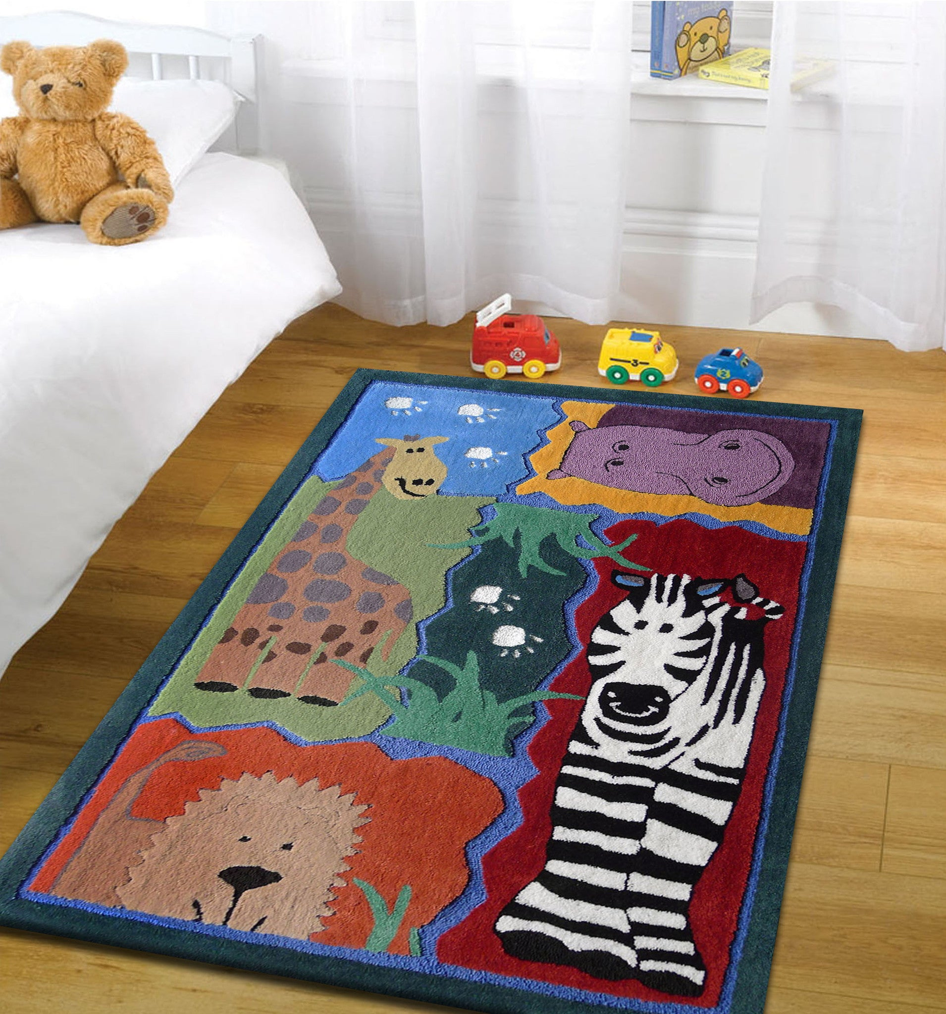 4 39 x 6 39 ft boy 39 s bedroom kids area rug with zoo animals for Rugs for boys bedrooms