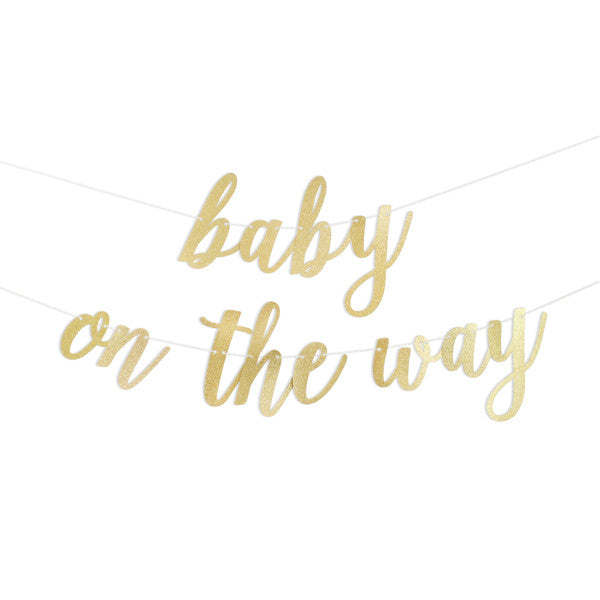 Baby On The Way Script Glitter Banner