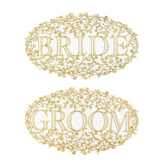 Bride and Groom Wood Veneer Floral Chair Signs