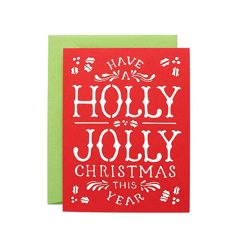 Holly Jolly Laser Cut Card