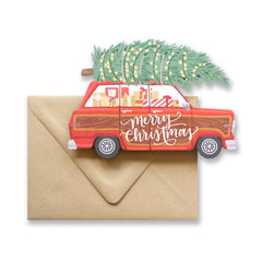 Christmas Car Die Cut Card