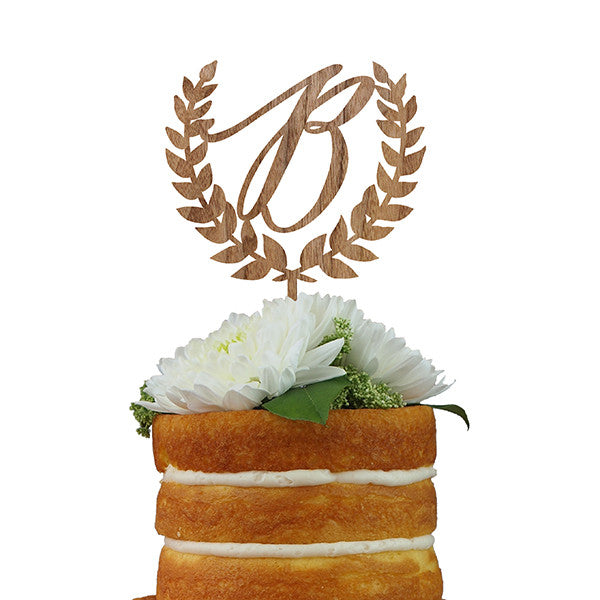 Custom Cake Topper- Laurel Leaf Monogram