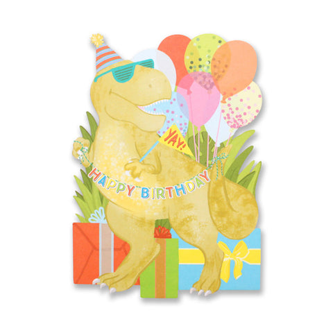 Birthday Dinosaur Die Cut Card