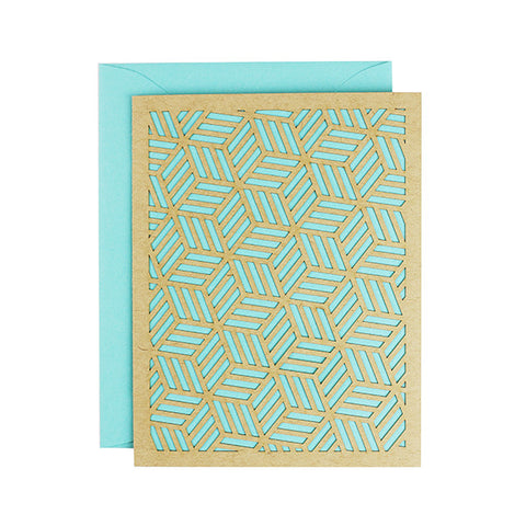 Aquamarine Geometric Laser Cut Card