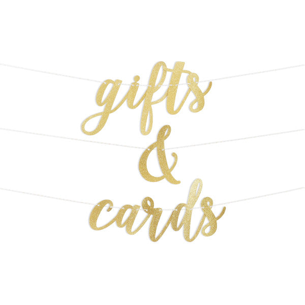 Gifts & Cards Script Glitter Banner