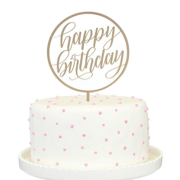 Happy Birthday Gold Mirror Cake Topper