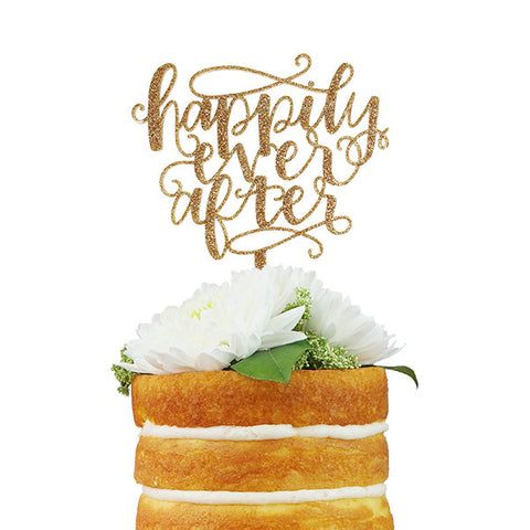 Happily Ever After Script Cake Topper - Gold