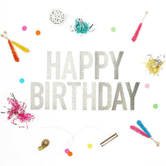 Happy Birthday Glitter Banner