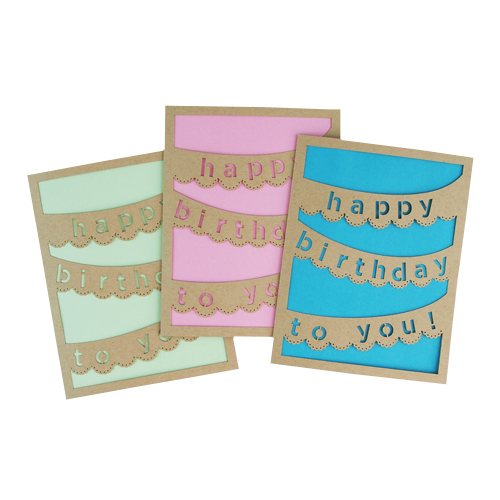 Happy Birthday Laser Cut Card Set
