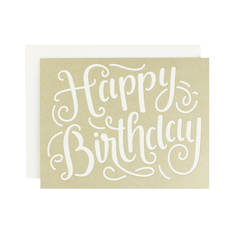 Happy Birthday Calligraphy Laser Cut Card