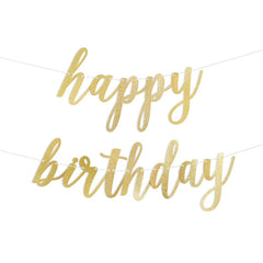 Happy Birthday Script Glitter Banner