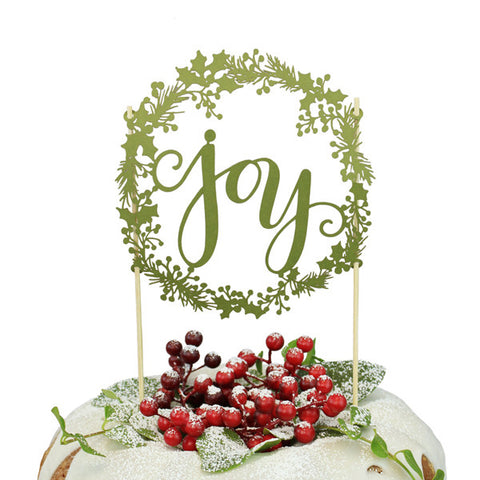 Joy Wreath Paper Cake Topper